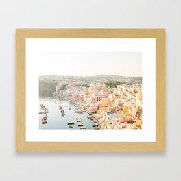 Procida Italy Gorgeous Pastel Architecture Framed Art Print