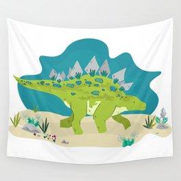 Stegosaurus dino illustration Wall Tapestry