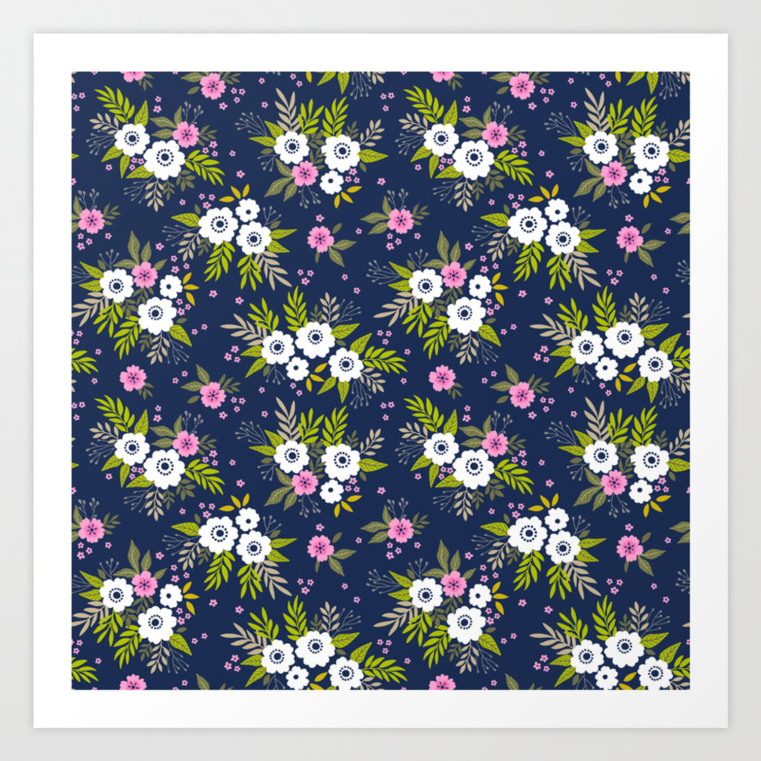 26 Floral Pattern White Flowers And Dark Blue Background Art