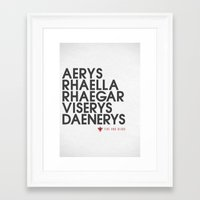 targaryen Framed Art Prints featuring House Targaryen Typography series II  by P3RF3KT