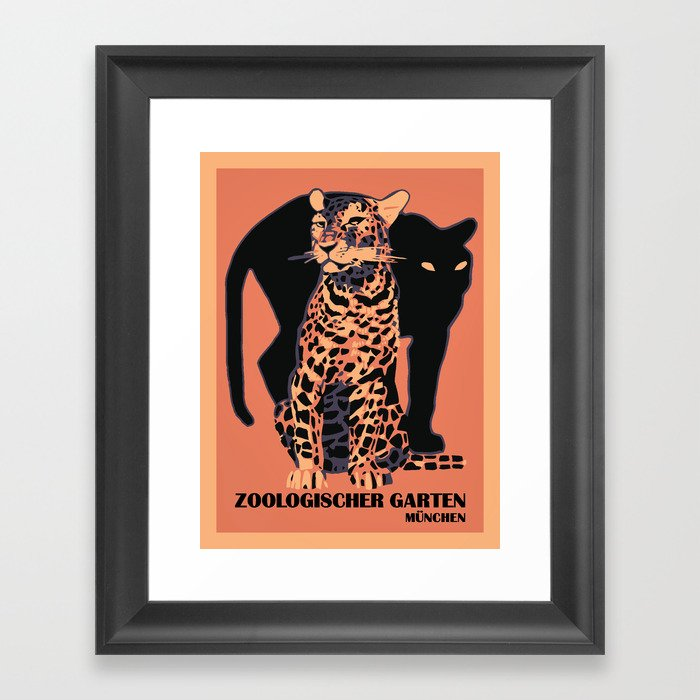 Retro vintage Munich Zoo big cats Framed Art Print by aapshop  4a8a68d5af9ea