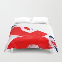 british flag Duvet Covers featuring Im British by Stitched up designs