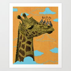 Giraffe & Singing Birds Print Art Print