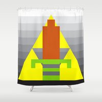8 bit Shower Curtains featuring 8-Bit Hero by Tiny Pixel Designs