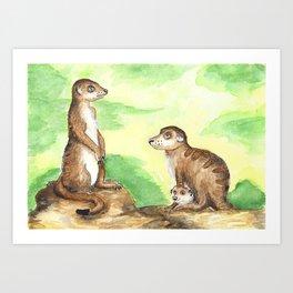 Meerkat Parents Art Print