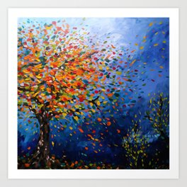 Fall Trees with Leaves Blowing in the Wind by annmariescreations Art Print
