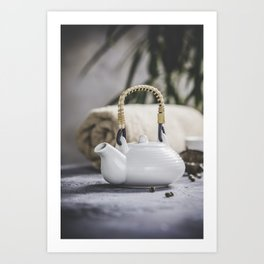 Tea set and spa settings on concrete background. Natural spa treatment and relaxation concept Art Print