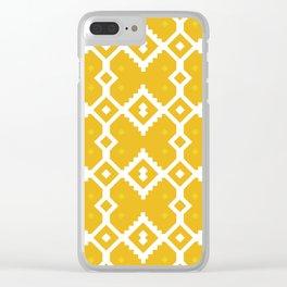 Yellow Chevron Diamond Pattern Clear iPhone Case