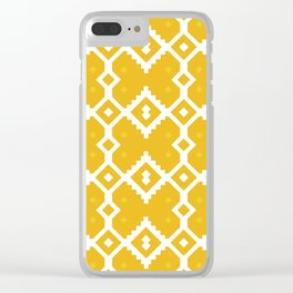 Yellow Chevron Diamond Pattern Clear iPhone Case