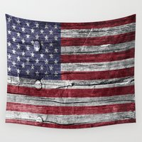 patriotic Wall Tapestries featuring Patriotic Wood Textire by Robin Curtiss