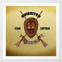 quidditch Art Prints featuring Gryffindor Quidditch Team Captain by JanaProject