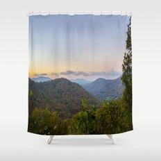 Sleepy valley town Shower Curtain
