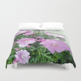 Pink Musk Mallow Bush in Bloom Duvet Cover