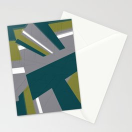 Pattern green and grey Stationery Cards