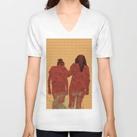 girls V-neck T-shirts featuring Girls by Nahal
