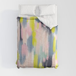 Abstract Brush Stroke Art in Modern Color Palette Comforters
