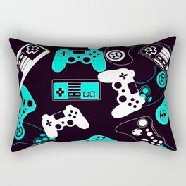 Video Games light blue on black Rectangular Pillow