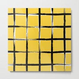 Yellow plaid, pool tiles pattern, tartan Metal Print