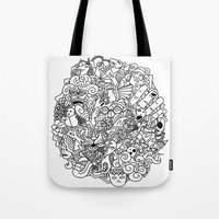 doodle Tote Bags featuring Doodle  by Vibe-Art