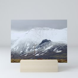Snowy Mountains in Iceland Mini Art Print