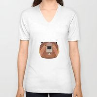 beaver V-neck T-shirts featuring Beaver by Alysha Dawn