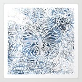 Monarch Butterfly in Pastel Blue Art Print