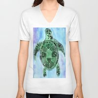 tatoo V-neck T-shirts featuring Tatoo Sea Turtle by PepperDsArt