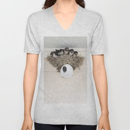 Swallow nestlings sitting in nest Unisex V-Neck
