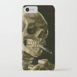 SKULL OF A SKELETON WITH BURNING CIGARETTE - VINCENT VAN GOGH iPhone Case