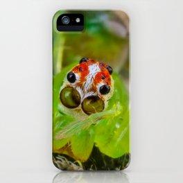 translucent green spider face iPhone Case