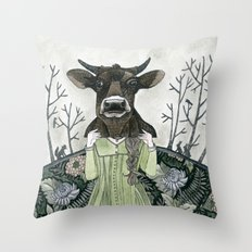 Cow Mask Throw Pillow