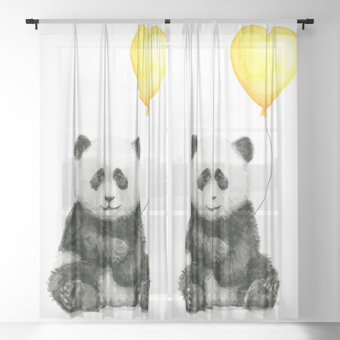 Panda With Yellow Balloon Baby Animal Watercolor Nursery Art Sheer Curtain By Olechka