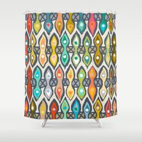 ikat Shower Curtains featuring Avani ikat by Sharon Turner