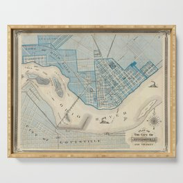 Vintage Map of Jefferson Indiana (1876) Serving Tray