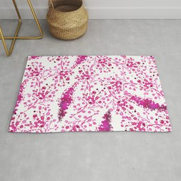 Hand painted magenta watercolor floral illustration Rug