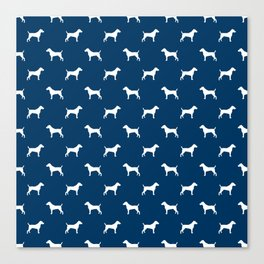 Jack Russell Terrier navy and white minimal dog pattern dog silhouette pattern Canvas Print