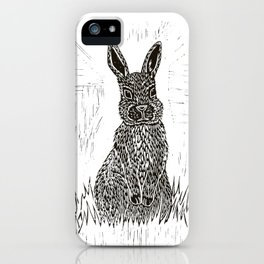Rabbit Lino Print iPhone Case