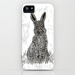 Rabbit Lino Print iPhone Case