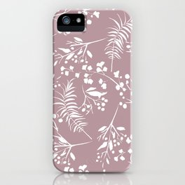 Modern mauve pink white hand painted floral iPhone Case