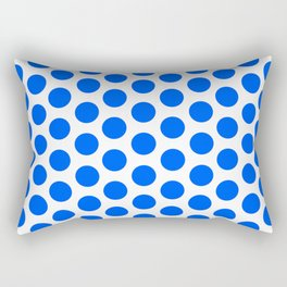 Modern look with blue round dots on a white background Rectangular Pillow