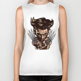 Hugh Jackman as Wolverin Vector Caricature Biker Tank