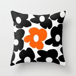 Large Orange and Black Retro Flowers White Background #decor #society6 #buyart Throw Pillow