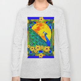 YELLOW HIBISCUS FULL GOLDEN MOON  BLUE PEACOCKS Long Sleeve T-shirt
