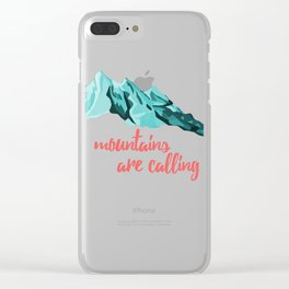 Mountains Are Calling Typography Design Clear iPhone Case
