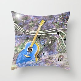 Space Guitar Acoustic Throw Pillow