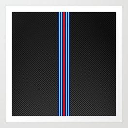 Carbon Racing Stripes Art Print