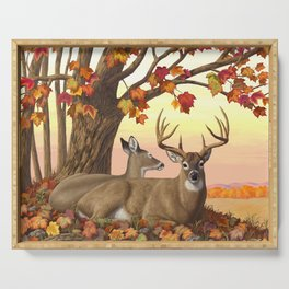 Hilltop Retreat Whitetail Deer Painting Serving Tray