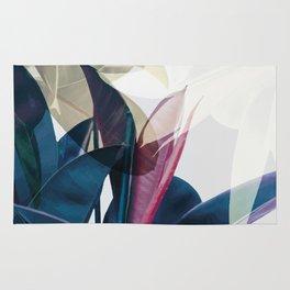 Tropical Leaf Print Rug