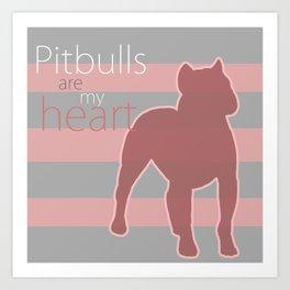 Pitbull heart Art Print