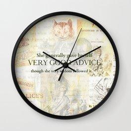 Alice in Wonderland Advice Quote Wall Clock